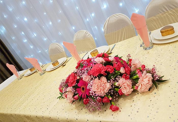 Reception Head Table Fresh Flowers