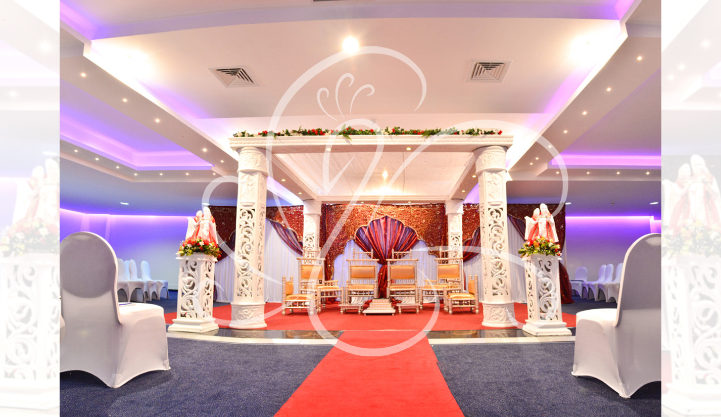 Carved White Elegant Mandap