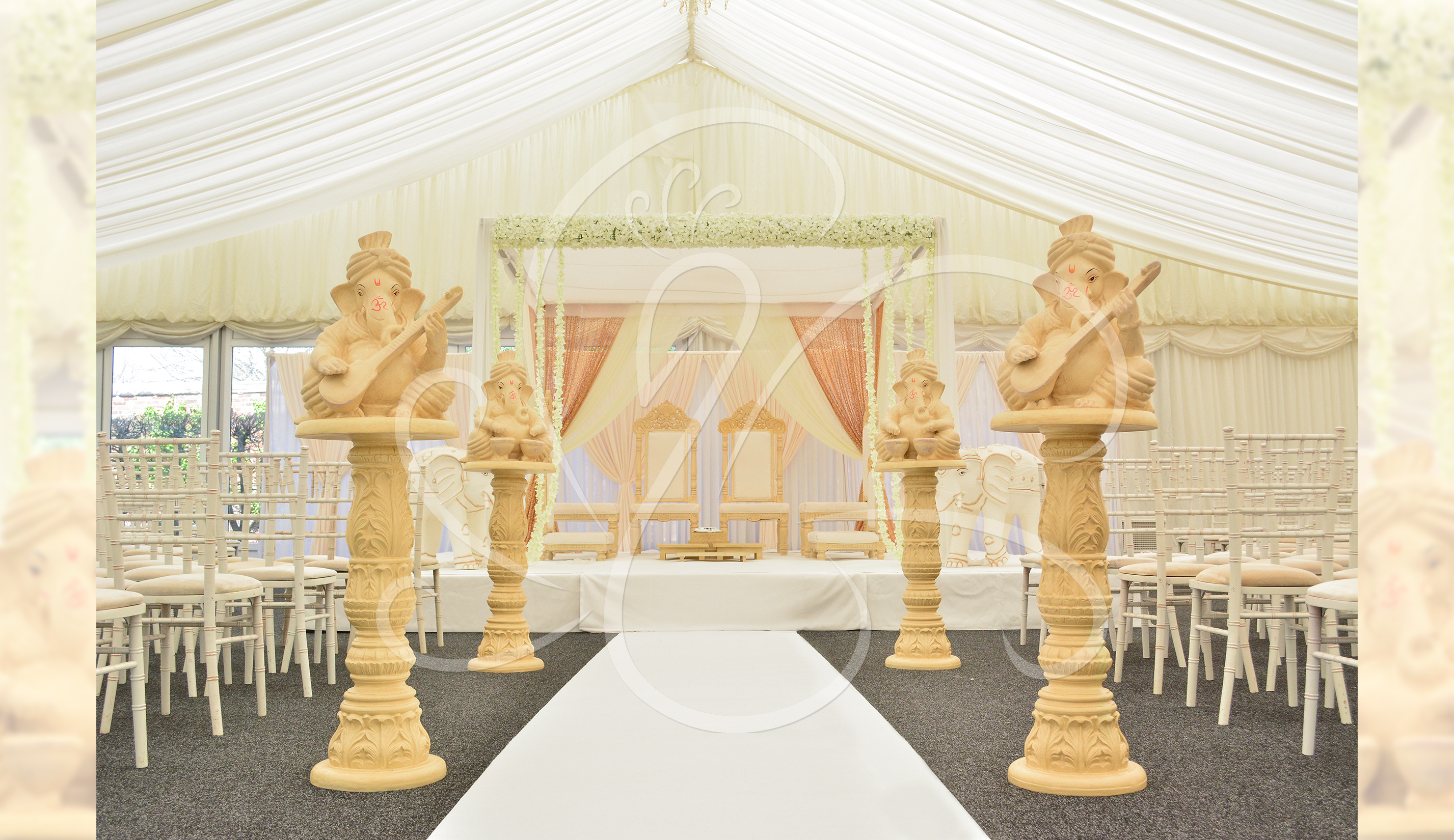 Marquee draped mandap set up